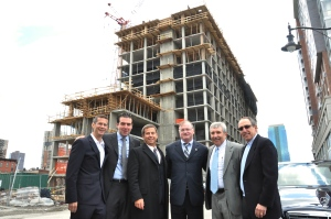 From Left: Michael Barry, Principal of Ironstate Development; Jonathan Kushner, Principal of SK Properties; David Barry, President of Ironstate Development; Jerramiah T. Healy, Mayor of Jersey City; Jeff Persky, Principal of SK Properties; and Murray Kushner, Principal of SK Properties