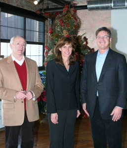 From left to right; Steven Winter, former Chairman of the USGBC, Hoboken Mayor Dawn Zimmer and Larry Bijou of Bijou Properties recently joined together to celebrate the recognition of Edge Lofts being awarded LEED® Platinum Certification by the United States Green Building Council (USGBC) for achievement in green homebuilding and design.  Edge Lofts is the first residential building in Hoboken to receive LEED® Platinum certification -- the highest level in USGBC's LEED for Homes program.