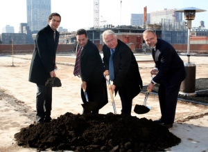 : Officials break ground on M2, the luxury high-rise in downtown Jersey City. From left to right: Steven Fulop, Mayor of Jersey City; Peter Mangin, principal of Garden State Development; Carl Goldberg, Co-president of Roseland; and Mark Sheeleigh, vice president of development for Roseland.
