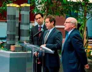 From left to right – Jersey City Mayor Steven Fulop, Ironstate Development Company President David Barry, and Mack-Cali President and Chief Executive Officer Mitchell E. Hersh.