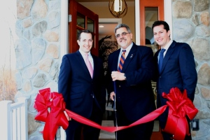 Officials from the Borough of Mountain Lakes and developer HornRock Properties officially open Legacy of Mountain Lakes luxury townhome community. From left to right: Maurice Hornblass, Principal of Hornrock Properties; Dan Happer, Mayor of Mountain Lakes; and David Hornblass, Principal of Hornrock Properties.