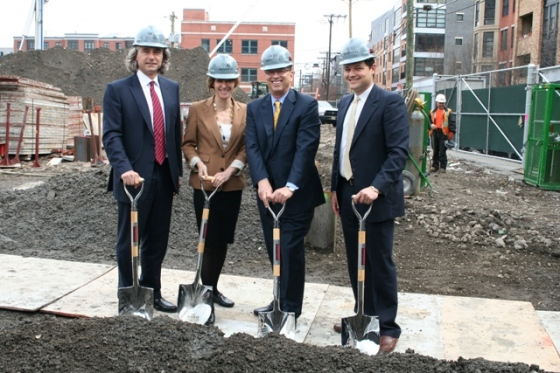 (From Left To Right): Peter Palandjian, Chairman and CEO of Intercontinental Real Estate Corporation, Hoboken Mayor Dawn Zimmer, Larry Bijou, Managing Partner of Bijou Properties and David Gaber, Partner and CFO of Bijou Properties, break ground for 900 Monroe, an 11-story, 135-unit mixed-use luxury rental building located at 9th and Monroe Streets adjacent to the 9th Street Light Rail Station in the Hudson County, N.J. City.