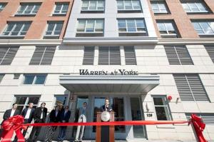 Jonathan Schwartz, senior vice president of BNE Real Estate Group, speaks during the ribbon-cutting ceremony for the luxury apartment building, Warren at York, at 120 York St. in Jersey City on Wednesday, April 9, 2014. Reena Rose Sibayan/The Jersey Journal