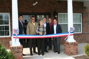 PHOTO: (From Left to Right) Andy Nowack, Vice President of Premier Development, Stan Schrek, Raritan Borough Engineer, Raritan Mayor Jo-Ann Liptak, Anatol Hiller,  Principal of Premier Development, Raritan Borough Councilman Greg Lobell and Jeff Hiller, Principal of Premier Development join for ribbon cutting ceremonies to mark the opening of new affordable apartment homes at Stone Bridge at Raritan.  Up to 50% of the homes will be reserved for Military veterans.