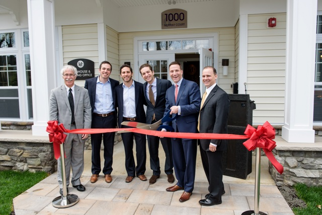 """Officials from the Township of Livingston and BNE Real Estate Group cut the ribbon on The Hillside Club. From left to right: Rufino """"Rudy"""" Fernandez, Jr., Livingston Councilman; David Pantirer, Executive Vice President of BNE Real Estate Group; Marc Pantirer, Executive Vice President of BNE Real Estate Group; Jonathan Schwartz, Executive Vice President of BNE Real Estate Group; Michael M. Silverman, Livingston Mayor; Alfred M. Anthony, Livingston Deputy Mayor."""