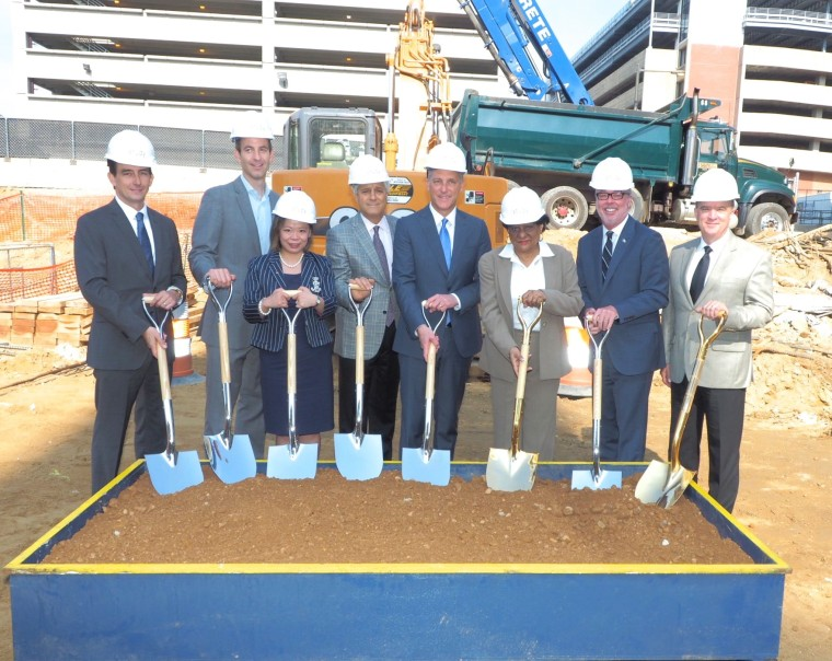 Officials break ground on The Study at University City. From left to right: James Richards, HSBC; Jeff Goldstein, Principal at DIGSAU; Feng Tian, HSBC; Pat Pasquariello, CEO of P. Agnes; Paul McGowan, President of Hospitality 3 and Study Hotels; Jannie Blackwell, Philadelphia Councilwoman; John A. Fry, President of Drexel University; and Jim Tucker, Senior Vice President of Administrative and Business Services at Drexel University.